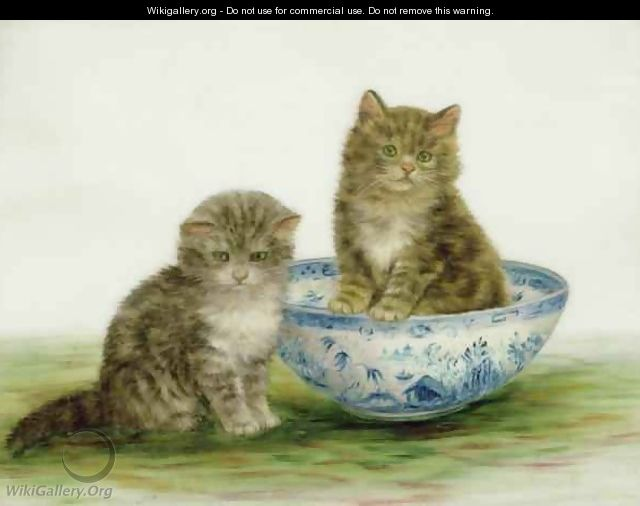 Kitten in a Blue China Bowl - Bessie Bamber