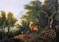 A stag and three hind in a wooded landscape - George Barret