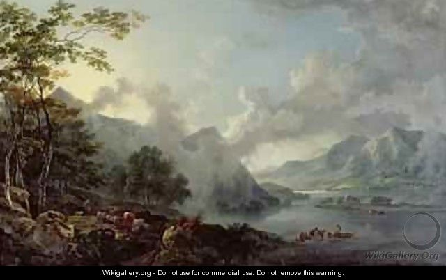 View of Windermere Lake, Early Morning - George Barret