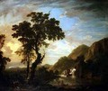 Wooded river landscape with figures in the foreground and cascade beyond - George Jnr Barret