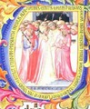 Historiated initial 'U' depicting Pope Martin V (1368-1431) concecrating the Church of Sant Egidio - Bartolomeo di Frusino