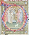 Historiated initial 'O' depicting Tobias and the Angel - Bartolomeo di Frusino
