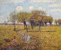 Dutch Landscape with Willow Trees in the Spring in a Small Meadow Valley - Paul Baum