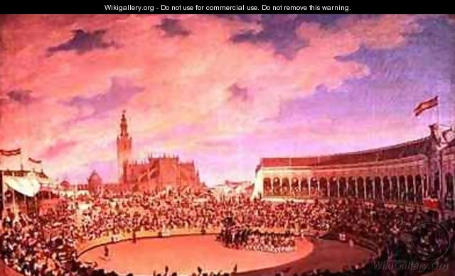 The Bullring in the Arsenal at Seville - Joaquin Dominguez Becquer