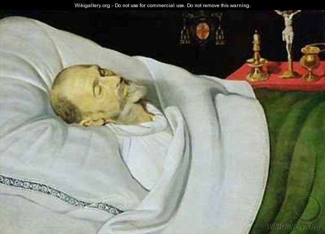 Antoine de Henin, Bishop of Ypres, on his death bed - Jean the Younger Bellegambe
