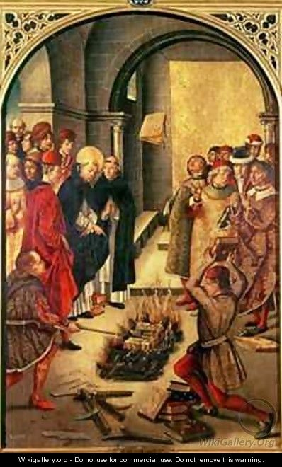 The Burning of the Books or St. Dominic de Guzman and the Albigensians - Pedro Berruguete