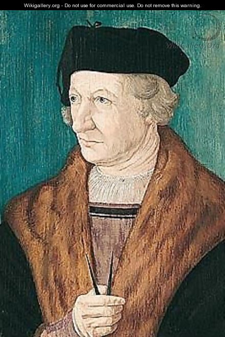 Portrait Of An Architect, Half-length, Wearing A Black Coat With Fur Collar, Holding Dividers - (after) Hans Krell