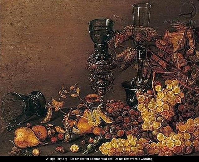 Still life of red and white grapes, pears, cherries, hazelnuts and peas, together with a facon-de-venise wine glass - (after) Roelof Koets