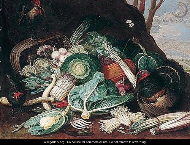 Still Life Of Vegetables, Together With A Turkey, A Cockerel And A Hen - (after) Jan Van Kessel I