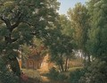 A Wooded Glade With A Figure Writing Beside A Stream Before A Roman Villa - Jean Thomas Thibault