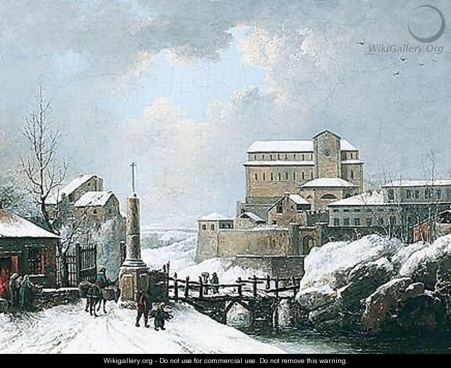 A Winter Landscape With Figures Crossing A Bridge Near A Monastery - Jules Cesar Denis van Loo