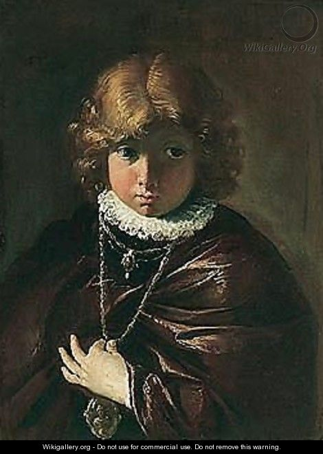 Portrait Of A Young Boy Holding A Medallion - Francesco Fontebasso