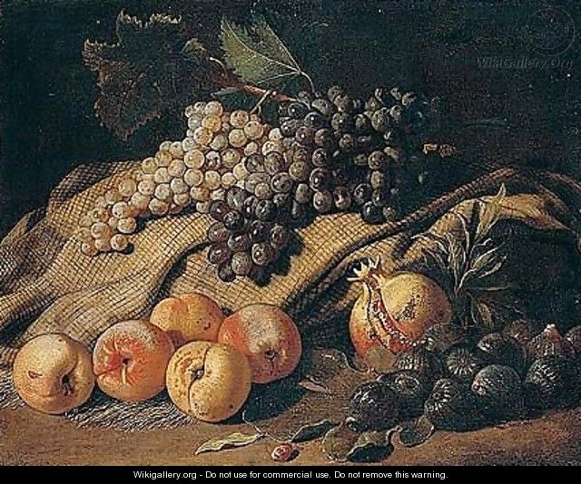 Still Life Of Grapes, Peaches, Figs And A Pomegranate - Jacob van der (Giacomo da Castello) Kerckhoven