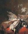 Still Life Of A Brace Of Red-legged Partridge And A Woodcock, Together With An Upturned Wine Glass, A Silver Gilt Bowl And Vine Leaves, All Set Upon A Red Velvet Cushion - Jan Baptist Weenix