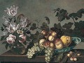 Still Life Of Peaches, Grapes And A Pear In A Blue And White Porcelain Bowl, Together With Variegated Tulips And Roses In A Glass Vase, Arranged Upon A Stone Ledge - Joris Van Son