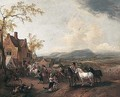 Landscape With A Village Fair - Pieter Wouwermans or Wouwerman