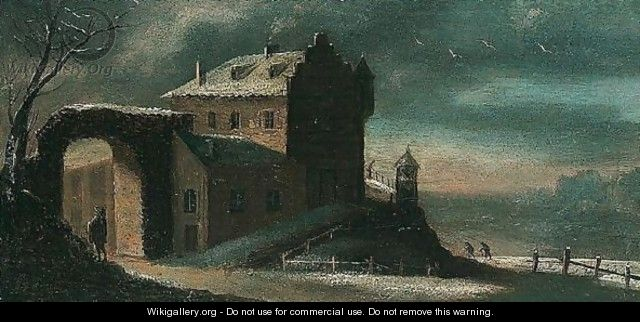 A winter landscape at dusk with travellers before a house - (after) Jan Griffier I