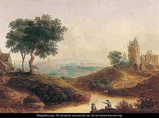 A river landscape with figures fishing before a castle - (after) Christian Georg II Schutz Or Schuz