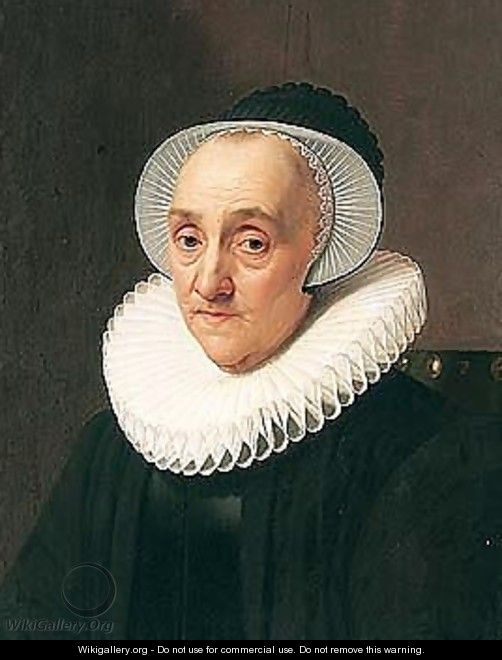 Portrait Of An Old Lady Seated Wearing Black With A White Ruff And