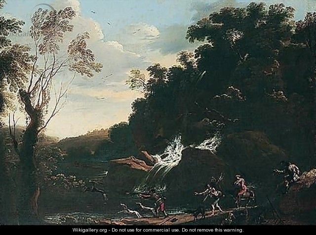 Landscape with a stag hunt - (after) Pandolfo Reschi