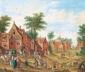 Village scene with numerous figures and a waggon - (after) Charles Beschey