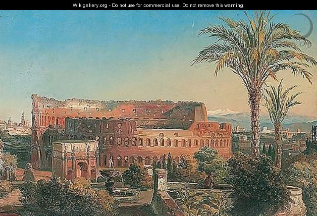 Rome, a view of the Colisseum with the arch of Constantine - Italian School