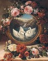 A Painting Of Swans In A River Landscape Encircled With Roses - Siegfried Detler Bendixen
