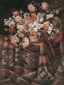 Still life of flowers in a wicker basket, upon a table draped with a carpet - Roman School