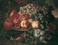 Still life of peaches, pomegranates and grapes upon a pewter plate - (after) Abraham Brueghel
