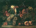 Still life of a melon, a pomegranate, grapes, figs, pears and peaches - (after) Agostino Verrocchi