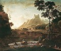 A Mountainous Landscape With Herders Watering Their Animals In The Foreground, A Fortress Beyond - Barend Appelman