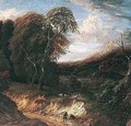 A Wooded Landscape With Figures Rested On A Path, Sheep Grazing Beyond - Cornelis Huysmans