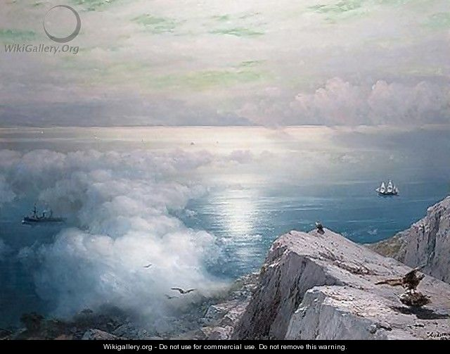 A rocky coastal landscape in the aegean with ships in the distance - Ivan Konstantinovich Aivazovsky