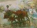 Bueyes En La Playa (Oxen On The Beach) - Jose Navarro Llorens
