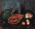 Still life with bread and onions - Boris Dmitrievich Grigoriev