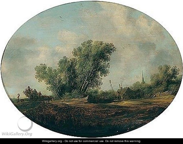 Landscape With A Waggon And Figures Dancing Around A Maypole - Salomon van Ruysdael