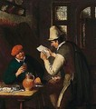 A Tavern Interior With A Man Drinking And Another Reading A Letter - Cornelis Dusart