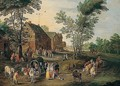 A Village Scene With A Wagon And Elegant Figures Halted Near An Inn - (after) Jan The Elder Brueghel