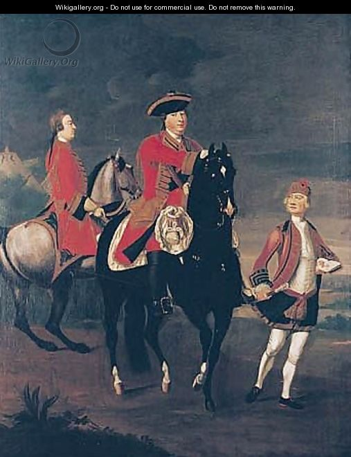 Equestrian Portrait Of Augustus, Duke Of Cumberland, With An Aide De Camp, And A Highland Servant - David Morier