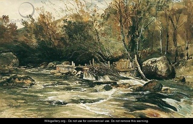 Salmon Trap On The River Lledr, North Wales - William James Muller