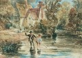A Man And Child Fishing In A Stream By A Cottage - David Cox