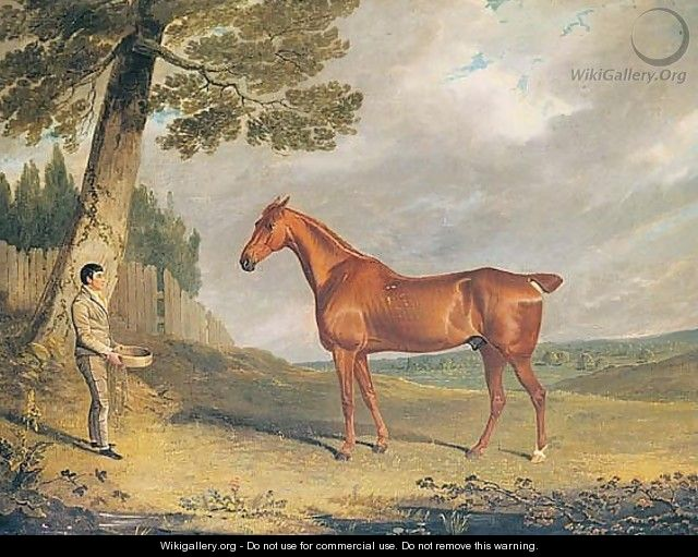 A Chestnut Hunter And Groom In A Landscape - John Frederick Herring Snr