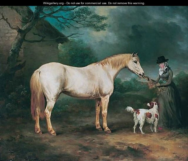 Mrs Heywood, With Her Grey Hunter, And A Spaniel In A Landscape - Philip Reinagle