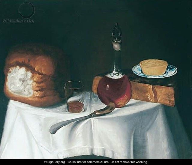 Still Life With Bread, Cheese And A Decanter - George, of Chichester Smith