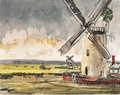 Windmills In A Stormy Landscape - Thomas Churchyard