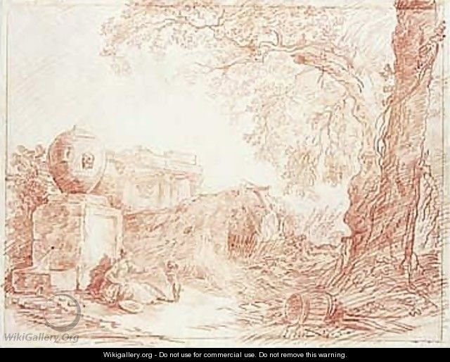 Landscape, With A Girl Playing With A Dog By A Fountain, With Ruins Behind And Trees To The Right - Hubert Robert