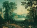 An arcadian landscape with figures conversing by ruins near a lake - French School