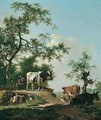 Landscape With A Drover And Cattle Crossing A Bridge - Barend Hendrik Thier