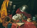 Still life with a helmet, trumpet, shell, stoneware vase, blue-and-white porcelain bowl - (after) Jean-Baptiste Huet I
