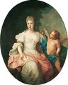 Portrait of a lady, full length, seated, wearing an ivory dress and a pink mantle - (after) Francois De Troy
